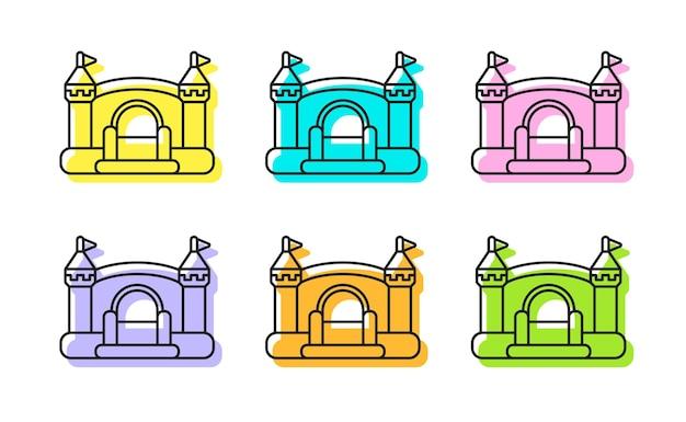 Aufblasbare hüpfburgen mit mittelalterlichem europäischem design set von vektor-bunten umriss-icons