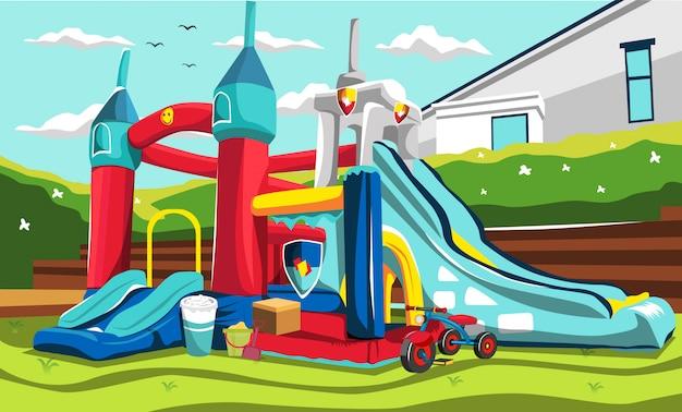 Aufblasbare spielplatzballons für kinder mit rutschen