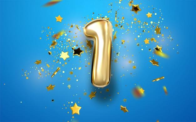Aufblasbarer ball ein jahr mit symbol 1 und festlichem konfetti, bänder fallen von oben. folie, silberne textur. illustration