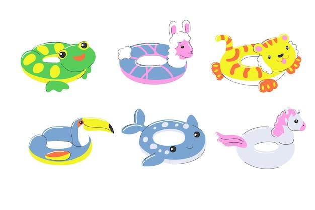 Aufblasbarer gummischwimmring sommerstrandspielzeugkreis in form eines frosch-einhorn-alpaka Premium Vektoren