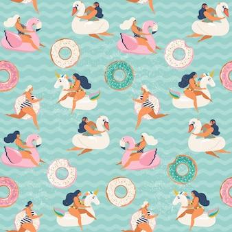 Aufblasbarer pool mit flamingo, einhorn, schwan und süßem donut schwimmt. nahtloses muster.