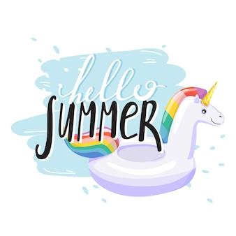 Aufblasbarer poolring unicorn mit trendigem schriftzug. stilvoller typografiesloganentwurf
