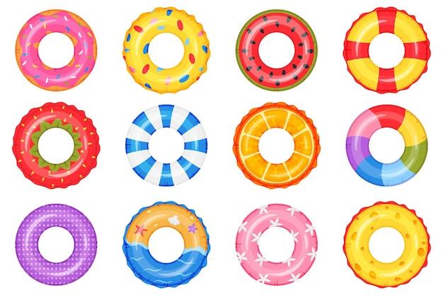 Aufblasbarer ring schwimmbad kreis spielzeug donut regenbogen wassermelone strand rettungsring set