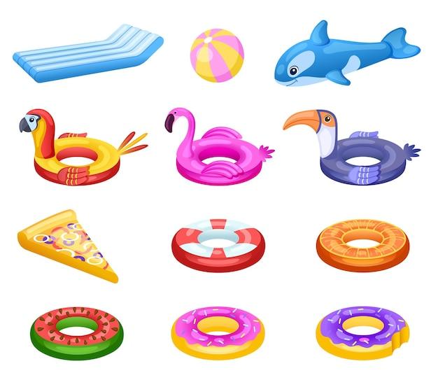 Aufblasbarer schwimmer. süße meerwassermatratze, sommer-poolparty-accessoires. kinder gummiring, schwimmschwimmer donut flamingo pizza
