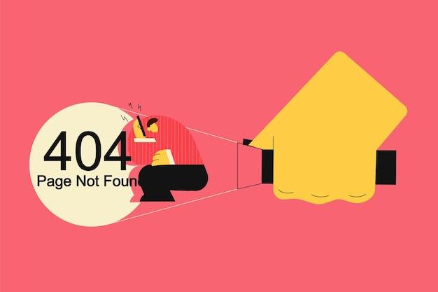 Aufdecken der 404-fehlerseite nicht gefundenes konzept. geschäftsmann geführt von hand, die taschenlampe hält.