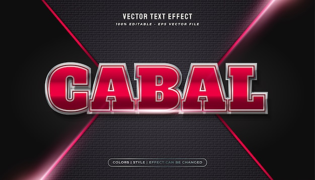 Auffälliger roter und metallischer textstil mit realistischem effekt