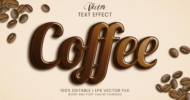Auffallender und glänzender kaffee-texteffekt-stil Premium Vektoren