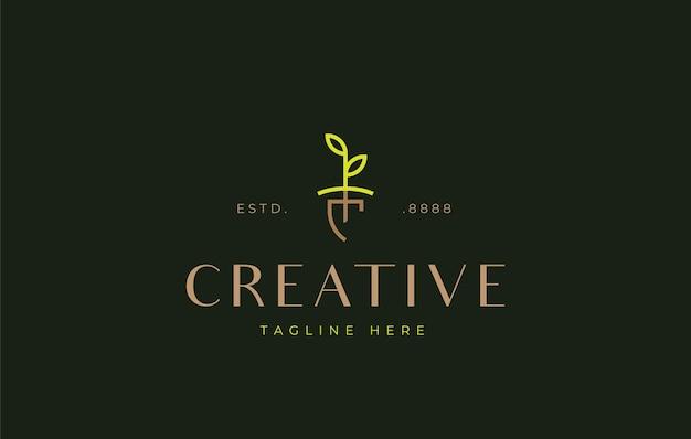 Aufforstungssymbolschaufeln und pflanzensamen-logo-design-icon-vorlage