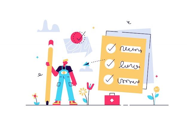 Aufgabe erledigt illustration. flacher winziger scheck, um personenkonzept zu tun. symbolisch positive und genehmigte checkliste oder ausgefülltes projektvalidierungsformular. gute und bestätigte prüfungs- oder umfrageergebnisse.
