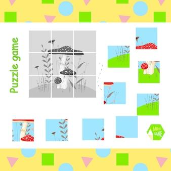 Aufgaben der kinder. das puzzle des bildes mit dem pilz fliegenpilz.