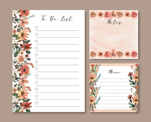 Aufgaben- und notizenvorlage mit braunen und terrakotta-aquarellblumen Premium Vektoren