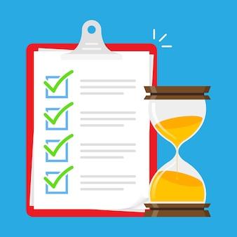Aufgabenliste abbildung der testzeit