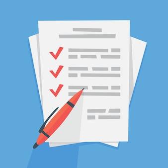 Aufgabenliste auf dem papierblatt. großes aufgabendokument und kontrollkästchen. eben