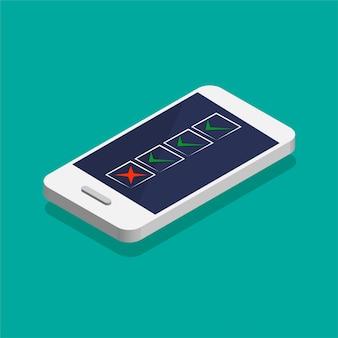 Aufgabenliste auf einem bildschirm. isometrisches smartphone mit kontrollkästchen auf einem display. vektorillustration.