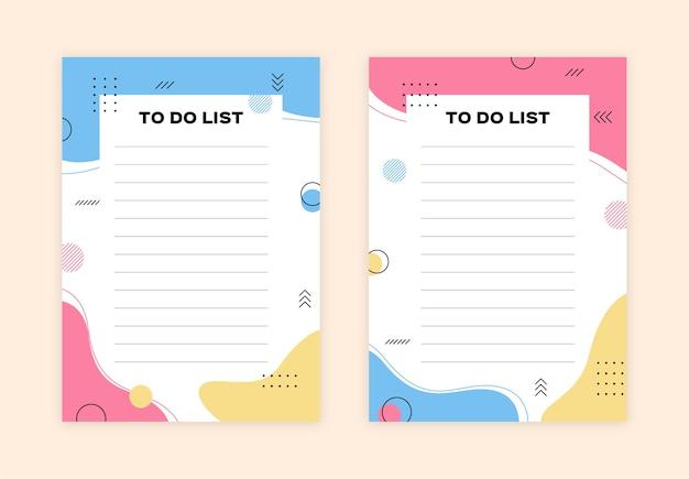 Aufgabenliste im memphis-stil