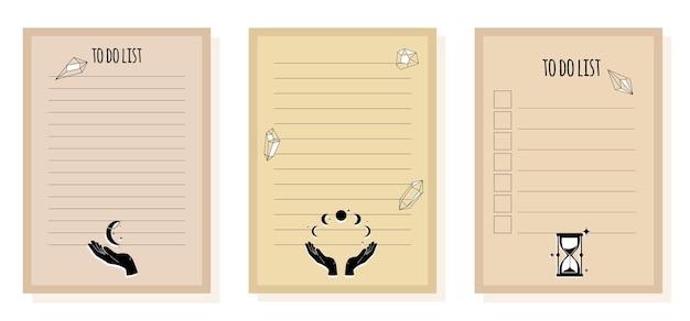 Aufgabenliste und checkliste für planer und notizbuch, aufgabenliste mit magischen gegenständen für die astrologie