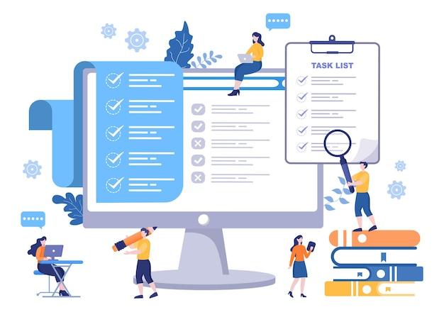 Aufgabenliste vector illustration to do-liste zeitmanagement, arbeitsplanung oder organisation von tageszielen. zielseitenvorlage Premium Vektoren