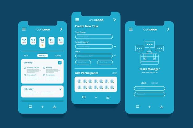 Aufgabenverwaltungs-app-bildschirme