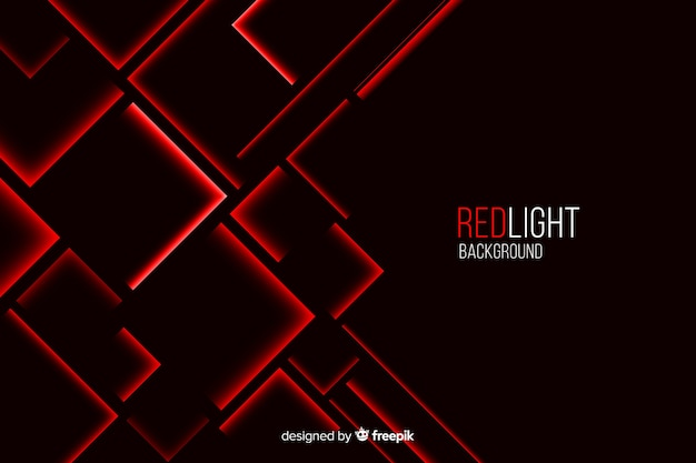 Aufgebaute quadratische rote lichter auf schwarzem hintergrund