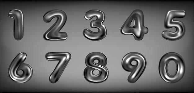 Aufgeblasene zahlensymbole aus schwarzem latex