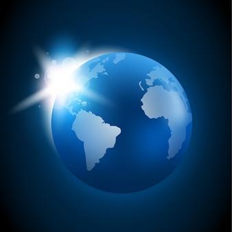 Aufgehende sonne über dem planeten erde