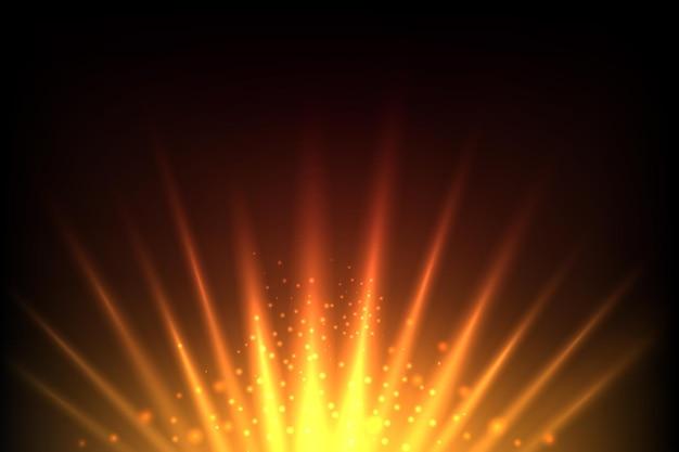 Aufgehende sonne und leuchtender roter und gelber abstrakter hintergrund der erde. sonnenlicht solar, sonnenschein hintergrund