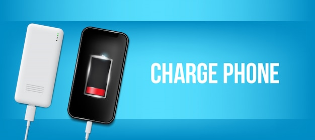 Aufgeladenes batterietelefon, handy-usb-steckerkabel.