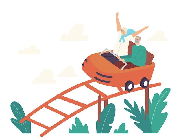 Aufgeregte ältere paarcharaktere, die achterbahn im vergnügungspark reiten. alte frau jubeln mit erhobenen händen, old man hold bar. wochenend-erholung, familienfreizeit. cartoon-menschen-vektor-illustration
