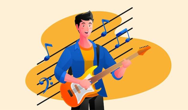 Aufgeregter junger mann mit e-gitarre