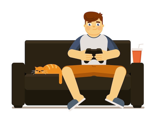 Aufgeregter mann mit joystick-gamepad, der videospiel spielt, das auf sofa zu hause illustration lokalisiert auf weißem hintergrund sitzt