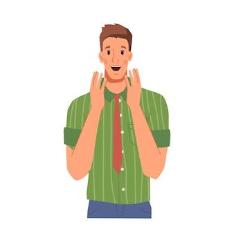 Aufgeregter oder überraschter gesichtsausdruck des männlichen charakters öffnete den mund aus überraschung oder freude