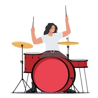Aufgeregter schlagzeuger, der hardrock-musik mit stöcken am schlagzeug spielt. talentierter musiker-charakter, der auf der bühne mit percussion-instrument auftritt. unterhaltungsshow mit musikband. cartoon-vektor-illustration
