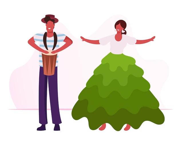 Aufgeregter schlagzeuger, der schlagzeug spielt, schönes mädchen im bunten kleid, das samba tanzt. karikatur flache illustration