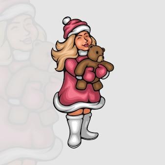 Aufgeregtes kleines mädchen mit ihrem weihnachtsgeschenk