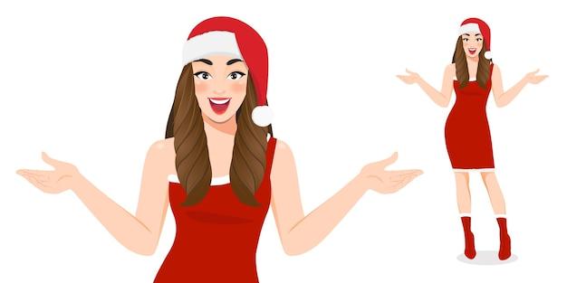 Aufgeregtes weihnachtsmädchen im roten kleid und in der weihnachtsmann-weihnachtsmütze-zeichentrickfigur