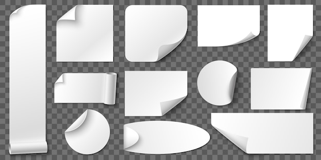 Aufgerollte ecken papieraufkleber. kleberaufkleber, leere etiketten und etikett mit realistischem schattensatz