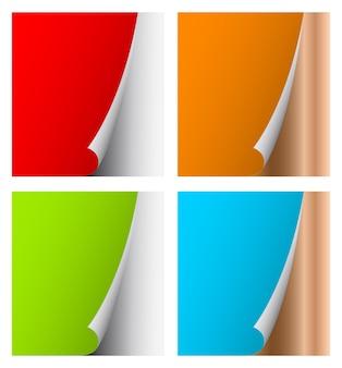 Aufgerollte vorlage aus farbigem seitenpapier
