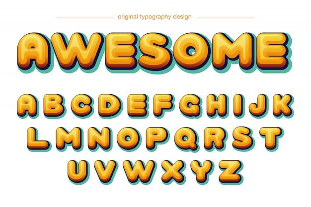 Aufgerundete gelbe typografie der karikatur