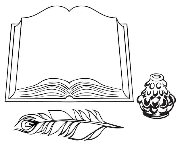 Aufgeschlagenes buch mit vintage-stift zum schreiben von tintenfass-schwarz-weiß-zeichnungen
