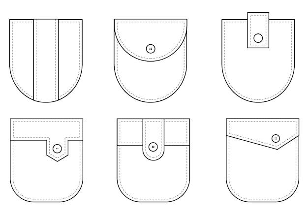 Aufgesetzte tasche set von einheitlichen aufgesetzten taschenformen für kleidung hemd lässiger denim-stil