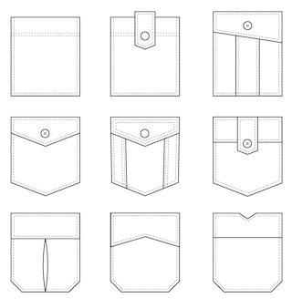 Aufgesetzte tasche set von einheitlichen aufgesetzten taschenformen für kleidung im casual-denim-stil isolierte symbole