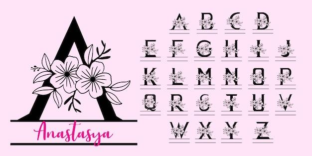 Aufgeteilte buchstaben des monogramms