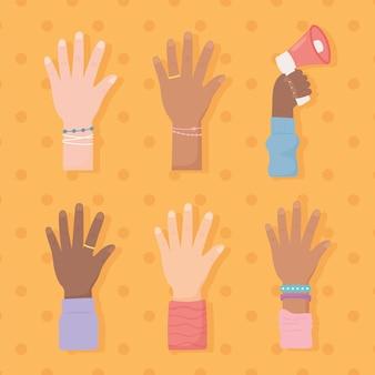 Aufgewachsene gemischte rassenhände