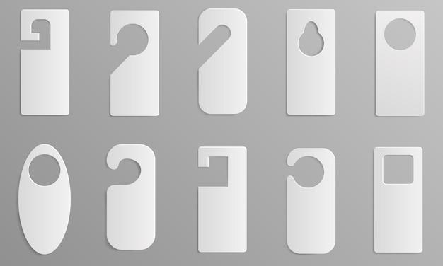Aufhänger-markierungsikonen eingestellt. realistischer satz aufhänger etikettiert vektorikonen für webdesign