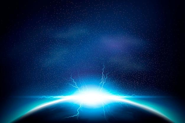 Aufhellender und leuchtender spezialeffekt im kosmoshintergrund