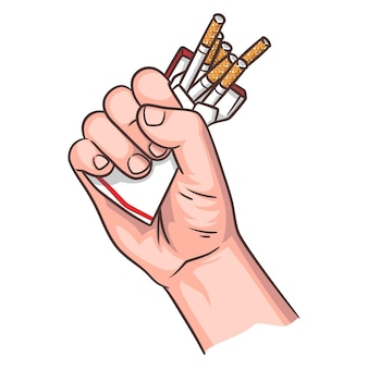 Aufhören zu rauchen illustration, hand drücken eine packung zigaretten