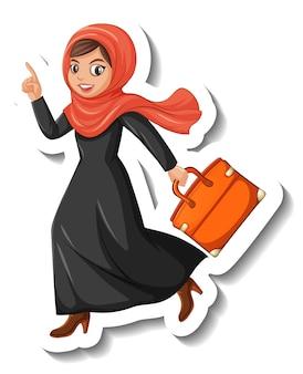 Aufkleber-cartoon-figur der muslimischen frau mit tasche auf weißem hintergrund