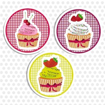 Aufkleber cupcakes mit bögen punktiert hintergrund