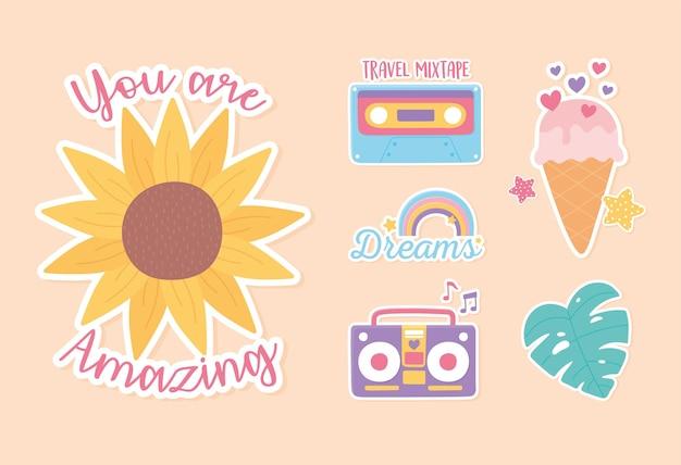 Aufkleber-dekorationskarikatur von eiscreme-kassettenblatt-stereo-regenbogen- und blumenillustration