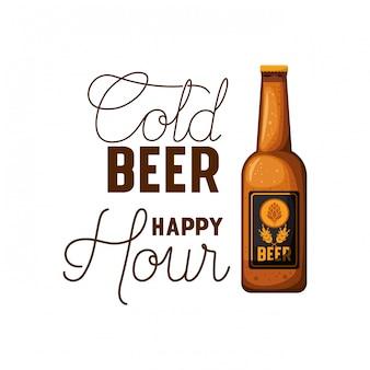 Aufkleber der glücklichen stunde des kalten bieres mit flaschenikone